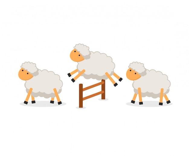 Pecore sveglie che saltano sopra la rete fissa isolata. contando le pecore per addormentarsi