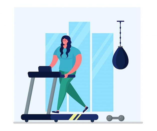 Pedana mobile quotidiana di addestramento di sport, attività dell'atleta del carattere della donna isolate sull'illustrazione bianca e piana. esercizi domestici.