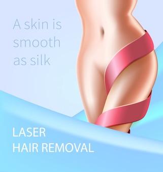 Pelle liscia come seta. procedura di rimozione dei peli laser.