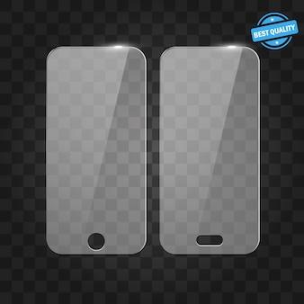 Pellicola salvaschermo o copertura in vetro. proteggi schermo glass. illustrazione realistica dello smartphone per dimostrare un prodotto o un servizio.