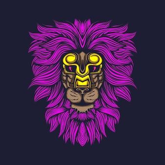 Pelo di leone bagliore con maschera d'oro