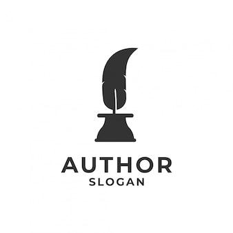 Penna a inchiostro piuma per il logo dell'autore.