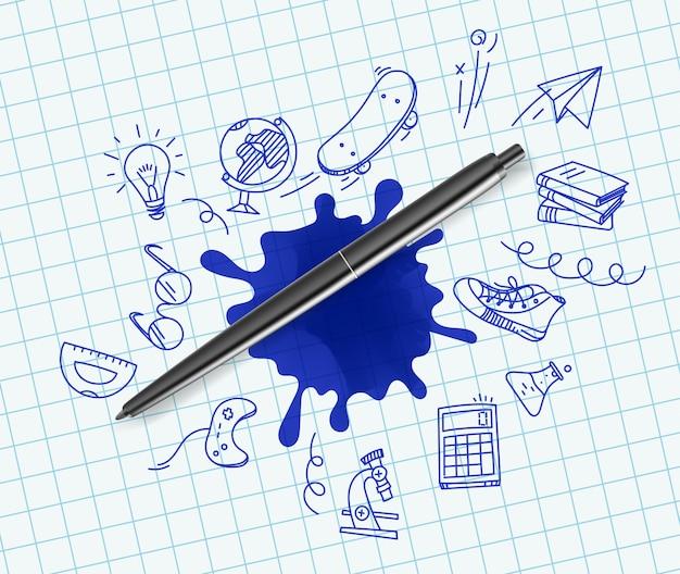 Penna con scarabocchiare illustrazione