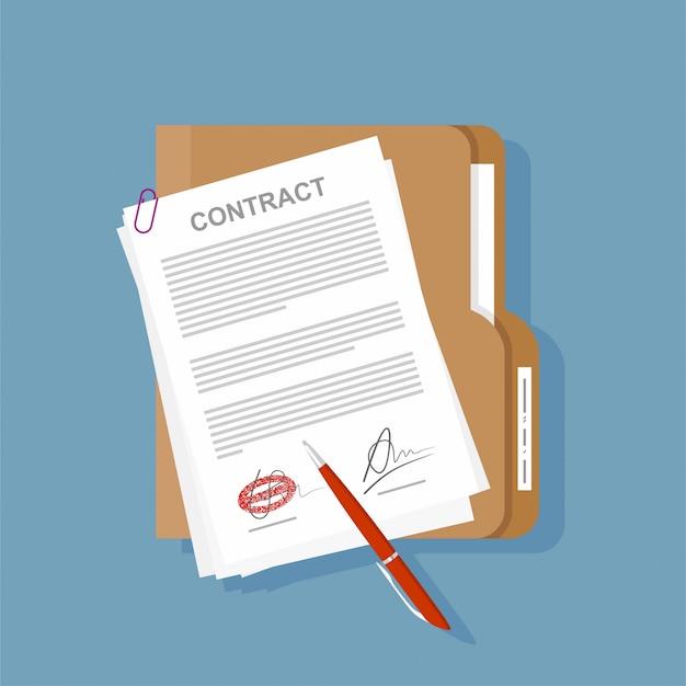 Penna di accordo dell'icona del contratto sull'illustrazione piana di affari dello scrittorio.