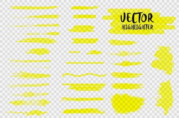 Pennarello evidenziatore sottolinea tratti. colpo di colore marcatore, sottolineatura disegnata a mano penna pennello. evidenzia tratti gialli, linee isolate su uno sfondo trasparente.