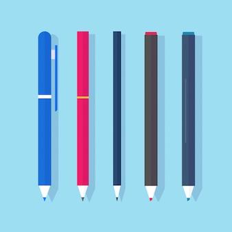 Penne e matite con pennarelli