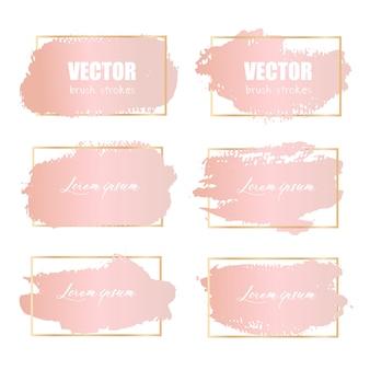 Pennellata rosa rosa, pennellate di oro rosa grunge.