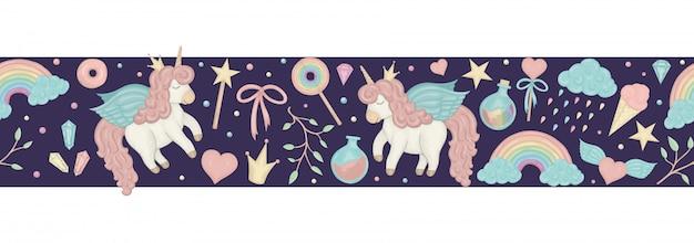 Pennello bordo senza soluzione di continuità con unicorni stile acquerello carino, arcobaleno, nuvole, cristalli, cuori su sfondo viola scuro.