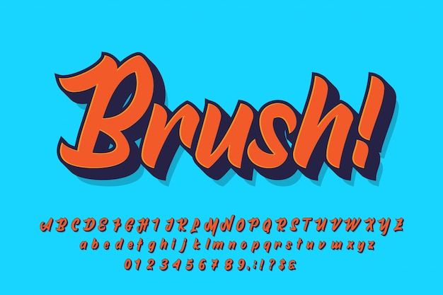 Pennello carattere di visualizzazione con colore semplice ed estrusione per design t-shirt o adesivo