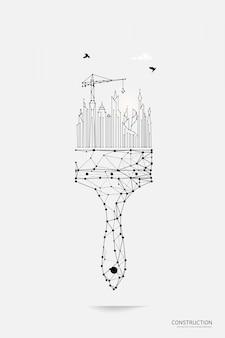 Pennello per pittura con smart city in stile wireframe poligonale