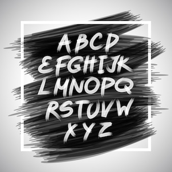 Pennello scritto a mano di vettore. lettere bianche isolate su sfondo nero.