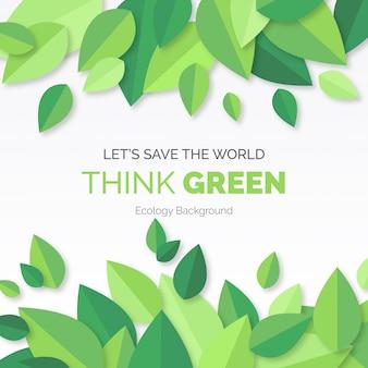 Pensa a sfondo verde moderno con foglie