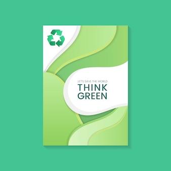 Pensa il vettore di poster di conservazione ambientale verde