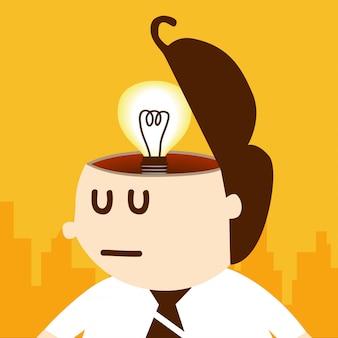 Pensiero dell'uomo di affari e idea della lampadina