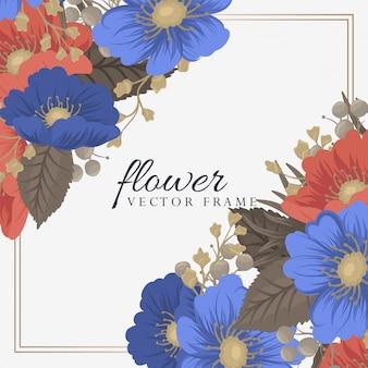 Pensionanti della pagina del fiore - fiori blu e rossi