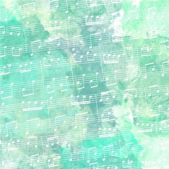 Pentagramma con sfondo verde acquerello