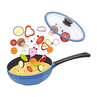 Pentola con l'illustrazione di progettazione della minestra isolata su fondo bianco