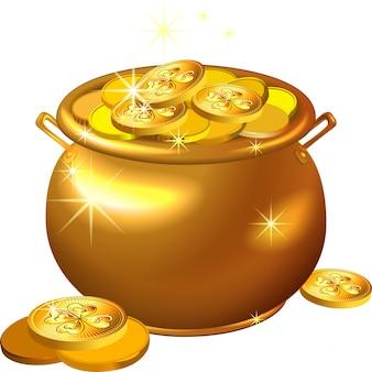 Pentola d'oro di giorno di san patrizio con monete