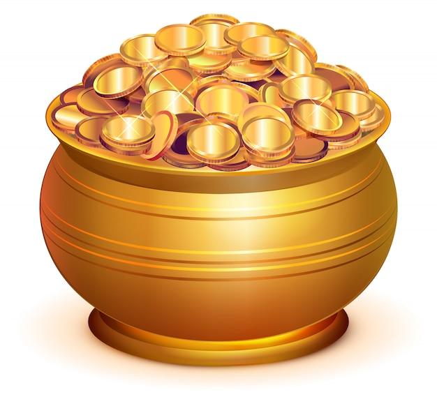 Pentola d'oro piena di monete d'oro