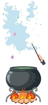 Pentola magica nera e bacchetta magica in stile cartone animato isolato su sfondo bianco