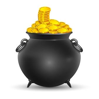 Pentola piena di monete d'oro il giorno di san patrizio su uno sfondo bianco.