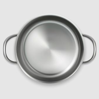 Pentola vuota realistico nella vista superiore isolata su fondo bianco