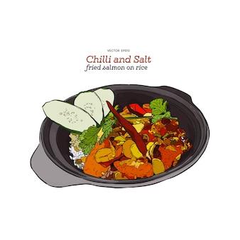 Peperoncino e salmone saltati in padella su riso, schizzo disegnato a mano.