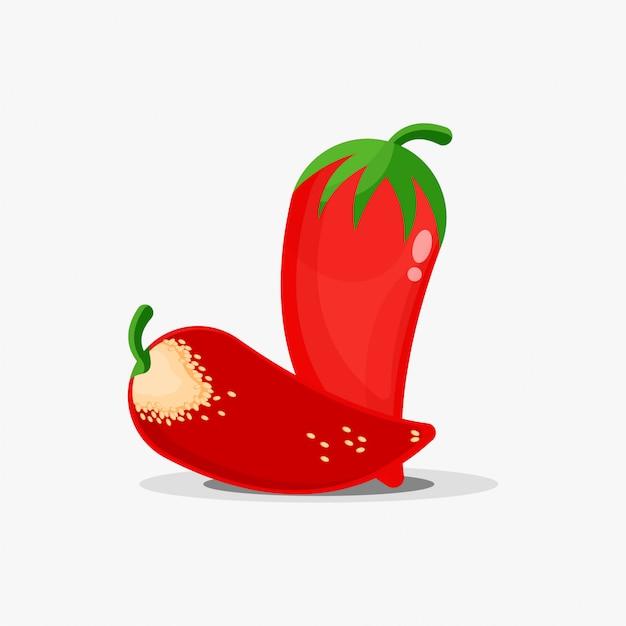 Peperoncino rosso intero e fette di peperoncino rosso