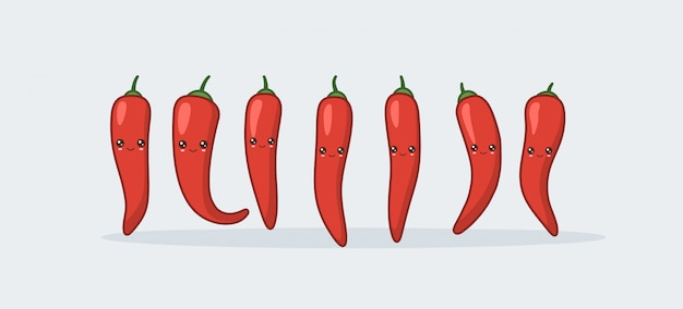 Peperoncino rosso kawaii carino cibo sorridente