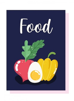 Peperone giallo, uovo sodo e ravanello