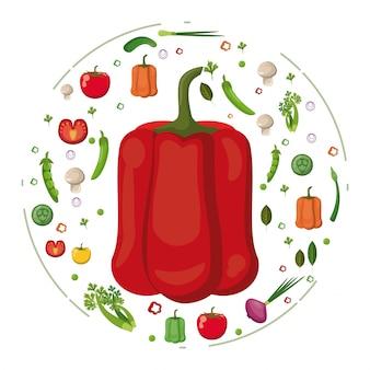 Peperone rosso con verdure gustose pietanze