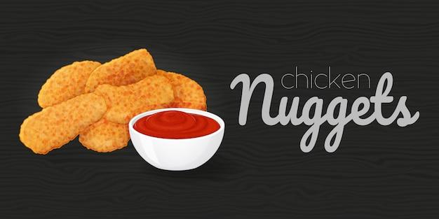 Pepite di pollo saporite con ketchup su fondo nero di legno. illustrazione. fast food. stile cartone animato.