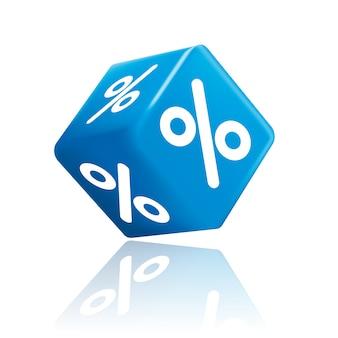 Per cento rendering 3d cubo