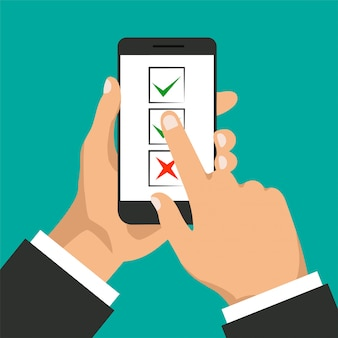 Per elencare il concetto. la mano tiene il touchscreen per smartphone e dito. casella di controllo sullo schermo del telefono. uomo d'affari accetta il pulsante e fai clic su di esso. illustrazione.