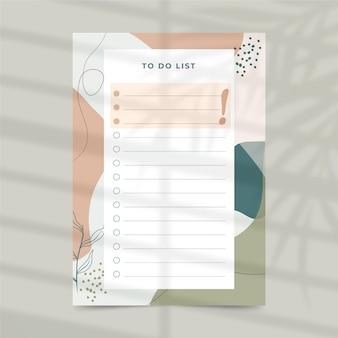 Per fare il modello di planner elenco