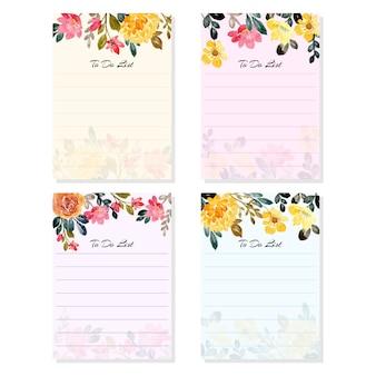 Per fare la lista di raccolta con fiori ad acquerello