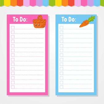 Per fare la lista per i bambini. modello vuoto. la forma rettangolare