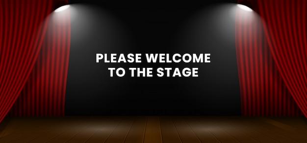 Per favore, benvenuto sul palco. sfondo di sipario palcoscenico teatro rosso aperto.