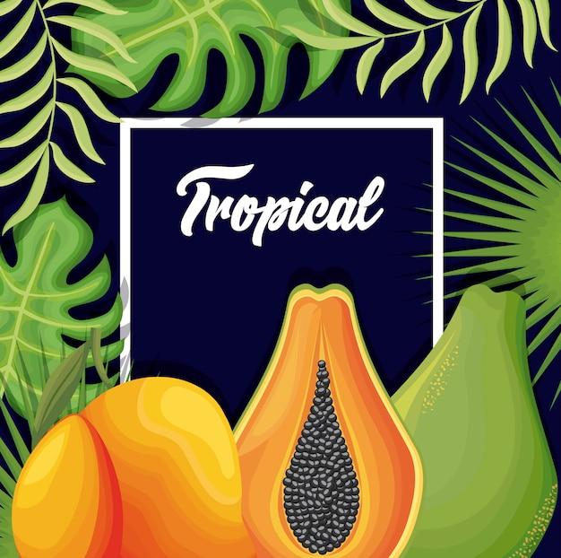 Pera fresca con mango e papaia