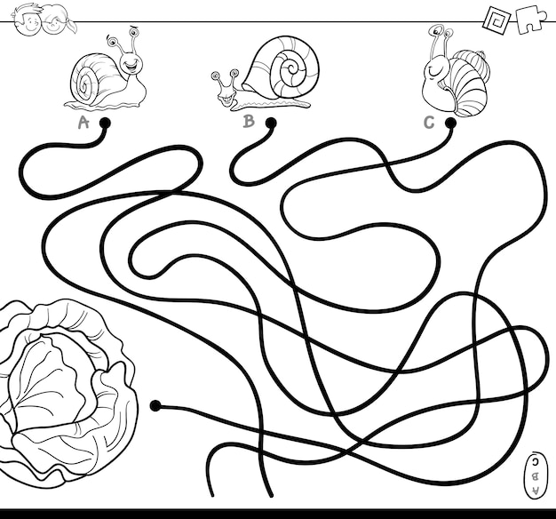 Percorsi labirinto con lumache e libro da colorare di lattuga
