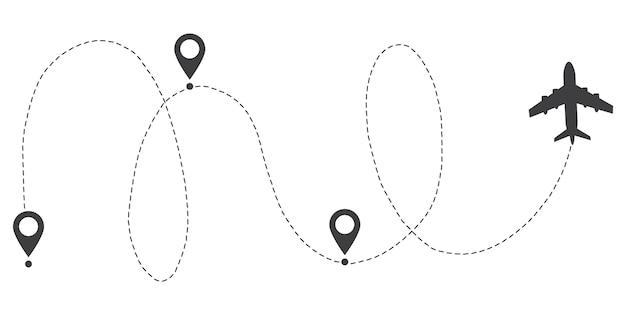 Percorso del percorso della linea dell'aeroplano. traccia punto iniziale e linea tratteggiata.