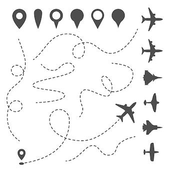 Percorso della linea piana. percorso direzionale dell'aeroplano, percorso punteggiato della mappa e direzione di volo.