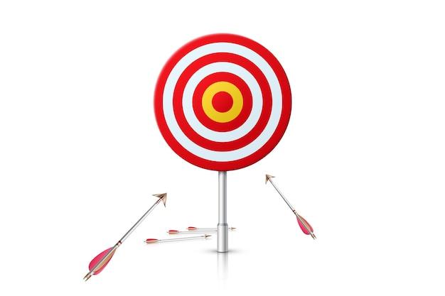 Percorso verso il successo. scopo realistico e frecce su sfondo bianco. illustrazione.