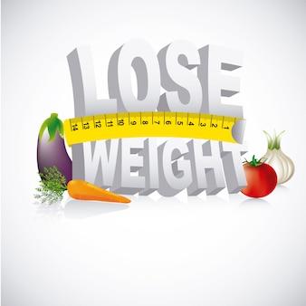 Perdere peso design su sfondo grigio illustrazione vettoriale
