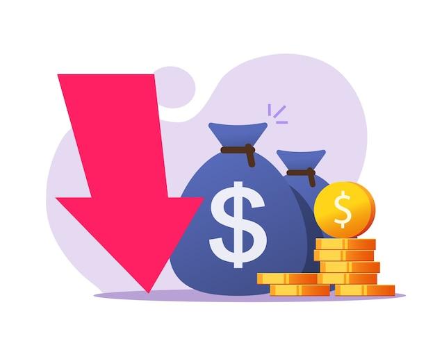 Perdita di denaro, recessione economica finanziaria, caduta di cassa del mercato dell'oro