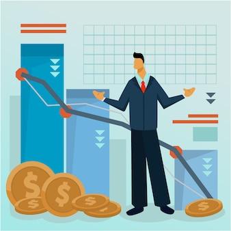 Perdita di monete design piatto fallimento