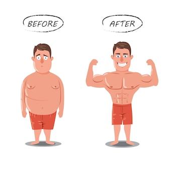 Perdita di peso. fat vs slim. prima e dopo il concetto