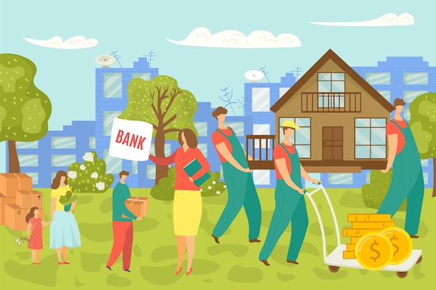 Perdita di proprietà, famiglia vende e trasloca, incertezza nel concetto di mercato immobiliare immobiliare, illustrazione. caduta e crisi della finanza e dei mutui. crollo economico della proprietà abitativa.