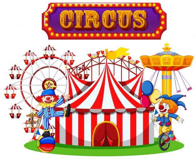 Performance da circo e pagliaccio
