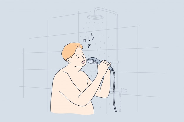 Performance, divertimento, canto, doccia, concetto di obesità